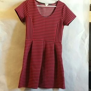 J Crew Red and Blue Skater Style Dress Size 10